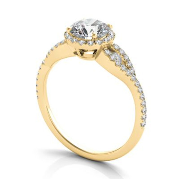 14K Yellow Gold Diamond Halo Engagement Ring-2506511