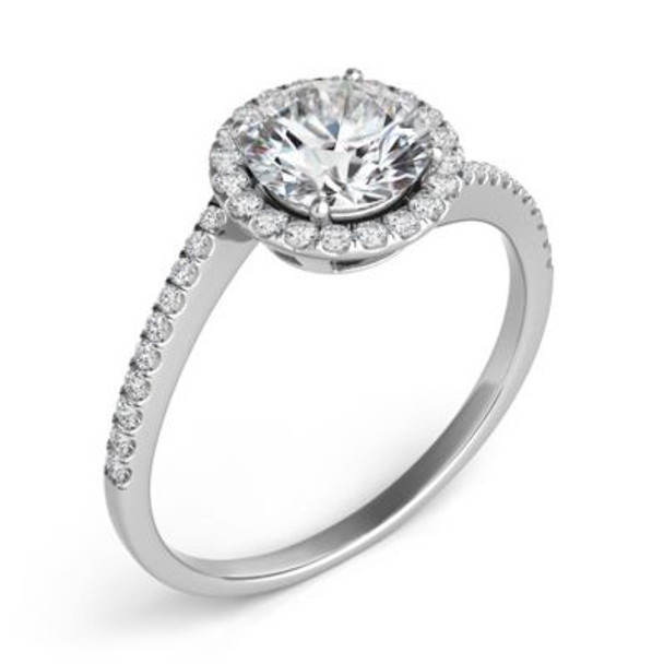 14K White Gold Diamond Engagement Ring & Wedding Band-2506514