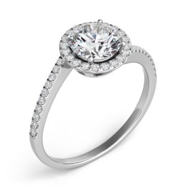 14K White Gold Diamond Engagement Ring & Wedding Band-2506515
