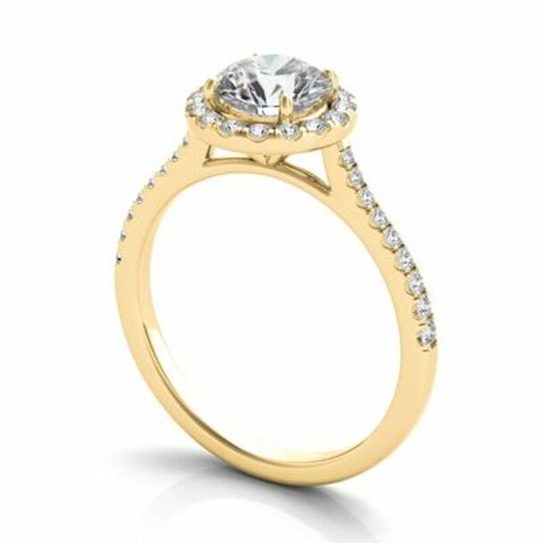 14K Yellow Gold Diamond Halo Engagement Ring-2506520