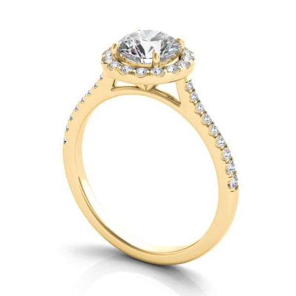14K Yellow Gold Diamond Halo Engagement Ring-2506522