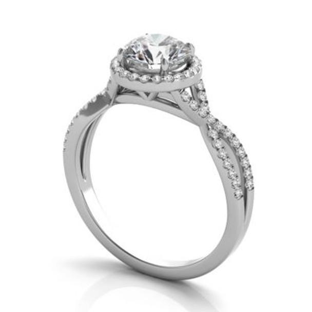 14K White Gold Diamond Halo Engagement Ring-2506523