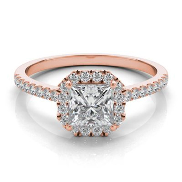 14K Rose Gold Princess Cut Diamond Halo Engagement Ring-2506527