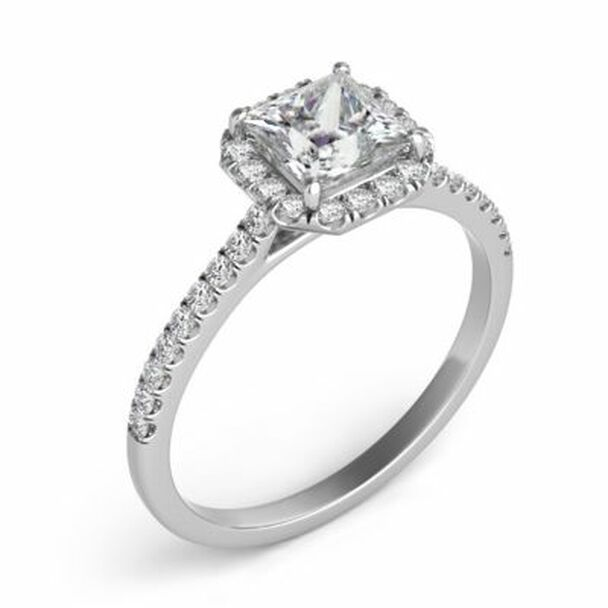 14K White Gold Princess Cut Diamond Halo Engagement Ring-2506528