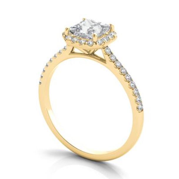 14K Yellow Gold Princess Cut Diamond Halo Engagement Ring-2506529