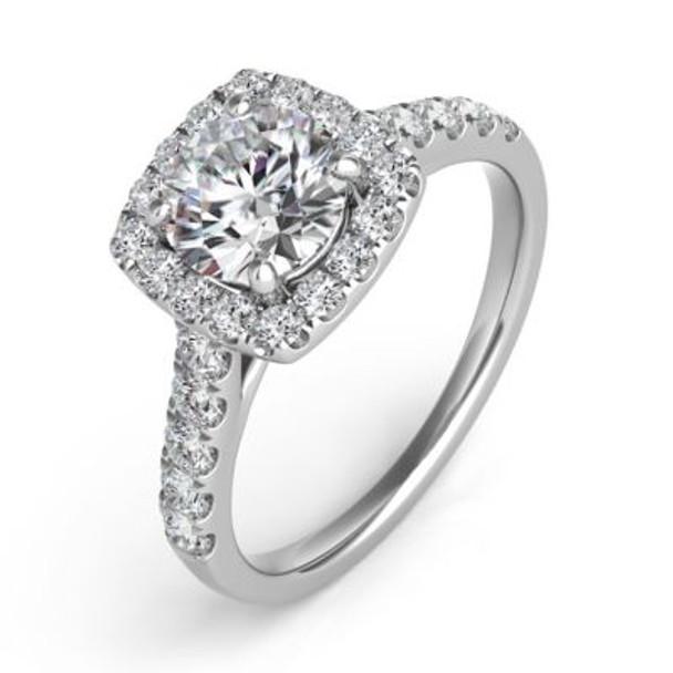 14K White Gold Diamond Engagement Ring-2506535