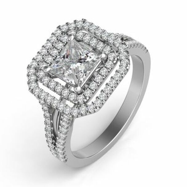 14K White Gold Princess Cut Diamond Halo Engagement Ring-2506539