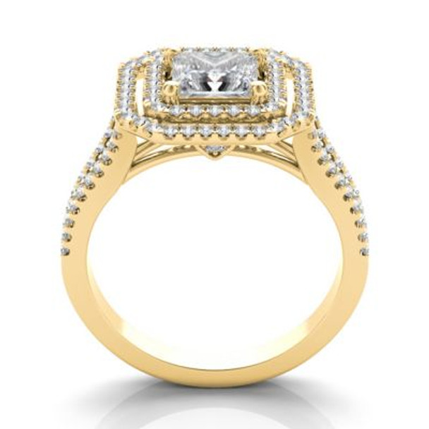 14K Yellow Gold Princess Cut Diamond Halo Engagement Ring-2506540