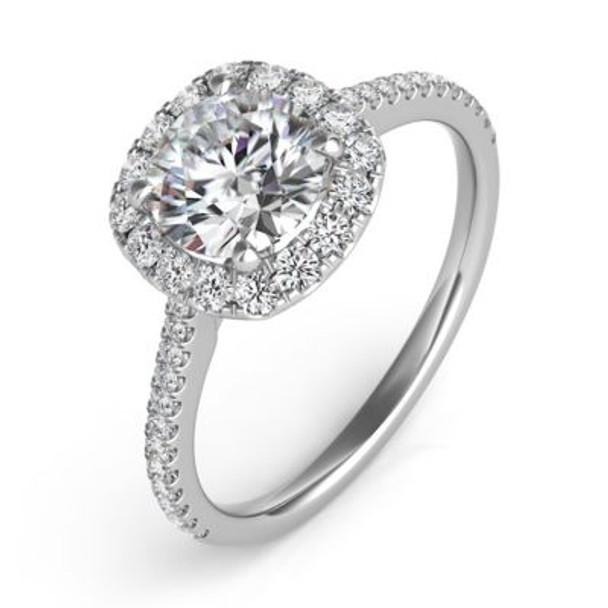 14K White Gold Diamond Engagement Ring-2506545