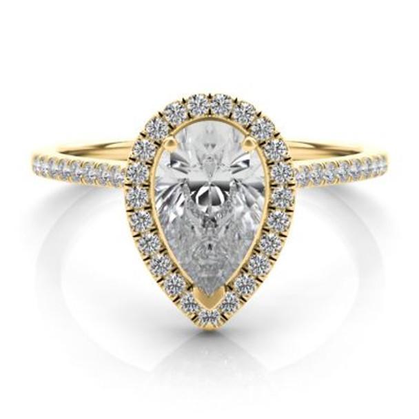 14K Yellow Gold Pear Shape Diamond Halo Engagement Ring-2506551