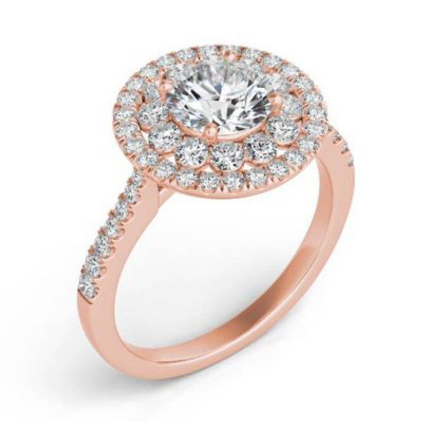 14K Rose Gold Diamond Halo Engagement Ring-2506552