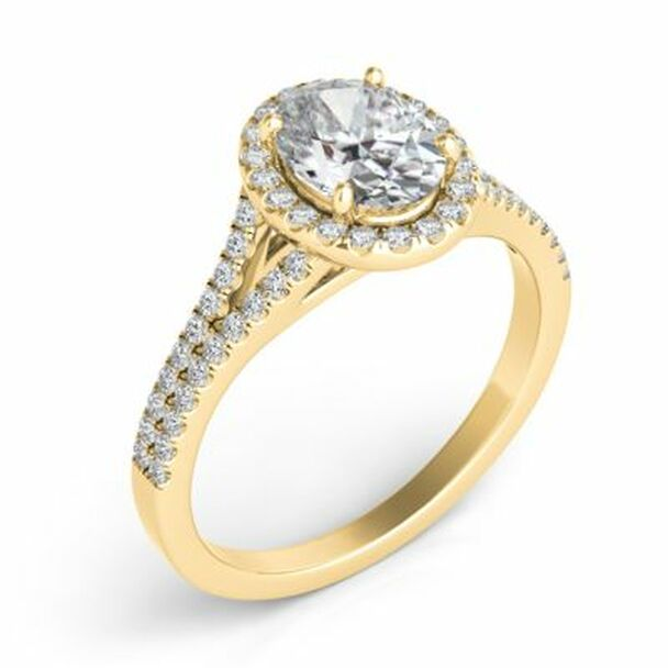 14K Yellow Gold Oval Diamond Halo Engagement Ring-2506556