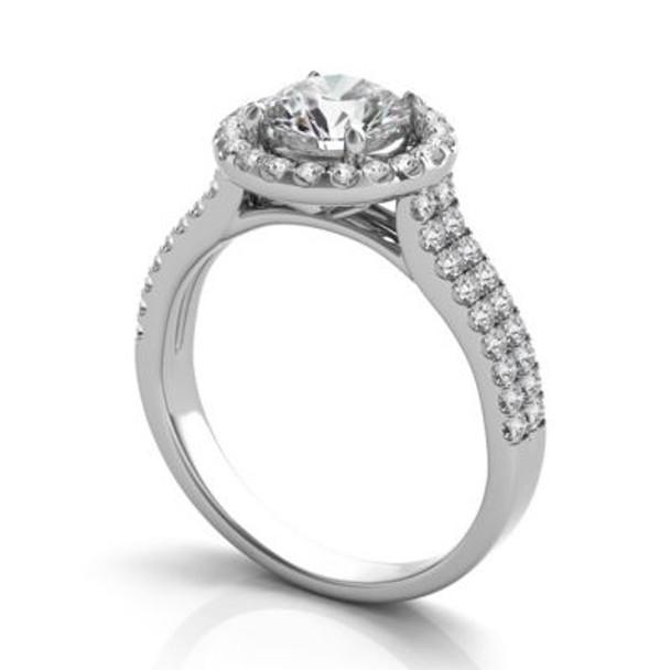 14K White Gold Diamond Halo Engagement Ring-2506557