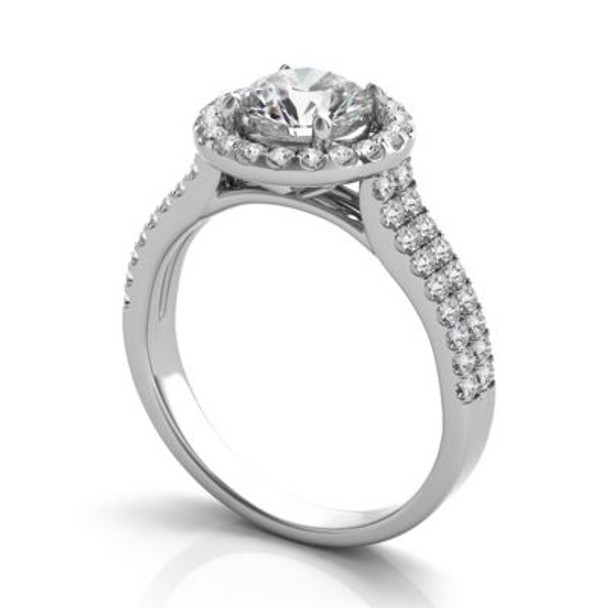 14K White Gold Diamond Halo Engagement Ring-2506558