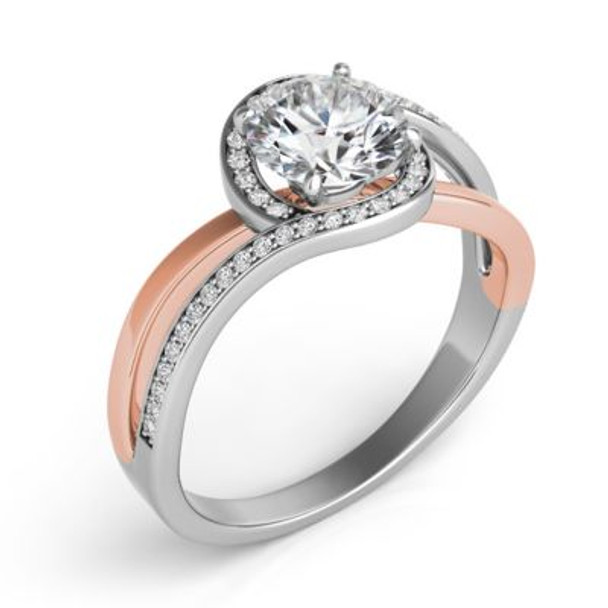 14K Rose & White Gold Diamond Engagement Ring-2506560