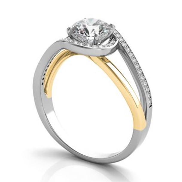 14K Yellow & White Gold Diamond Engagement Ring-2506567