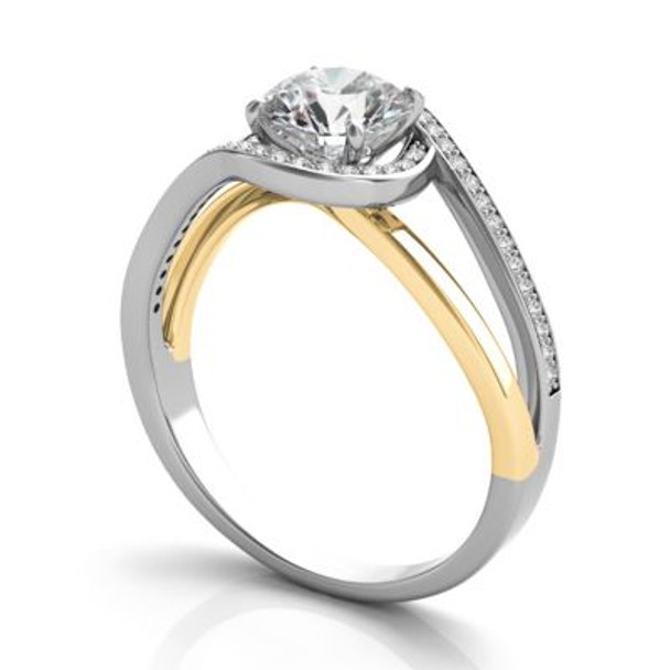 14K Yellow & White Gold Diamond Engagement Ring-2506569