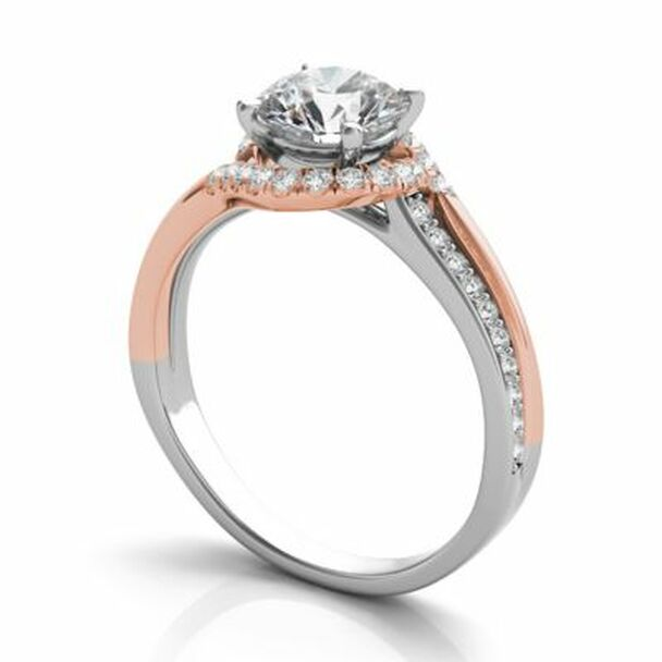 14K Rose & White Gold Diamond Engagement Ring-2506571