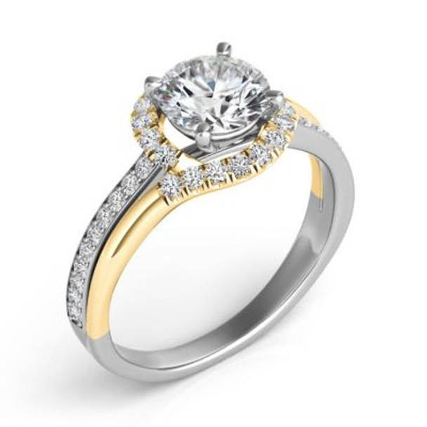 14K Yellow & White Gold Diamond Engagement Ring-2506576