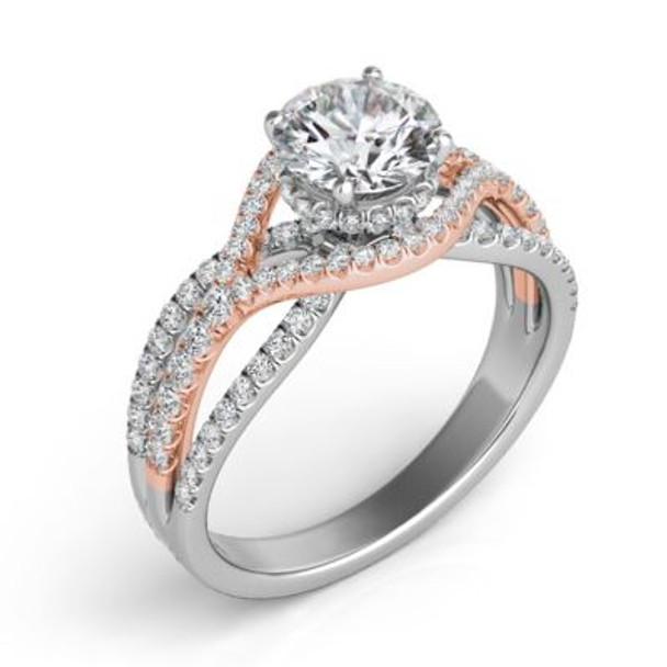 14K Rose & White Gold Diamond Engagement Ring-2506589