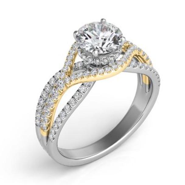 14K Yellow & White Gold Diamond Engagement Ring-2506591