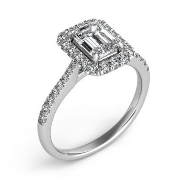 14K White Gold Emerald Cut Diamond Halo Engagement Ring-2506592