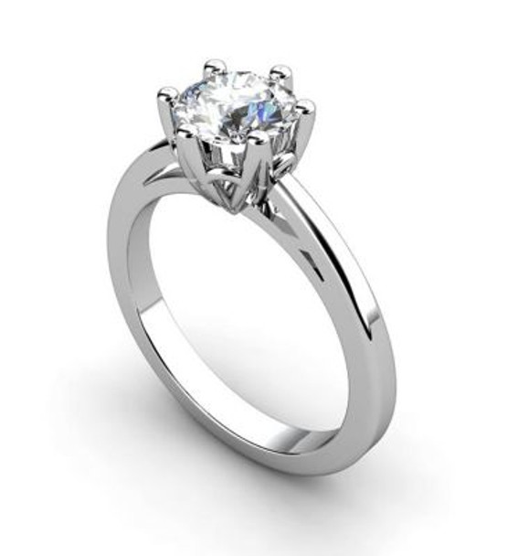 14K White Gold Diamond 6-Claw Engagement Ring-2506595
