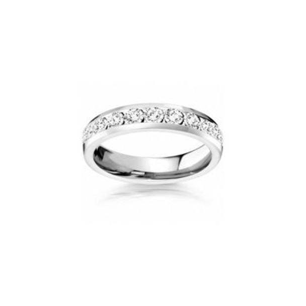 14K White Gold Diamond Channel Set Eternity Band-2506605