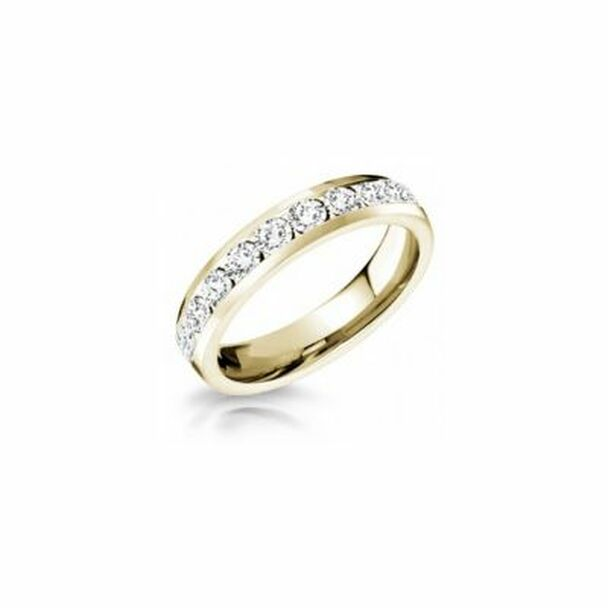 14K Yellow Gold Diamond Channel Set Eternity Band-2506606