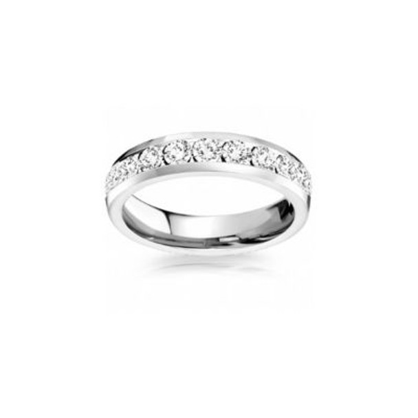 14K White Gold Diamond Channel Set Eternity Band-2506607
