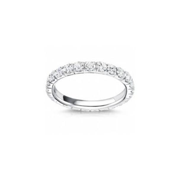 14K White Gold Diamond Prong Set Eternity Band-2506611