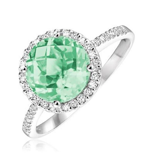 Green Amethyst & Diamond Ring-2506629
