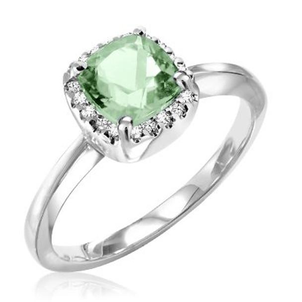 Green Amethyst & Diamond Ring-2506630