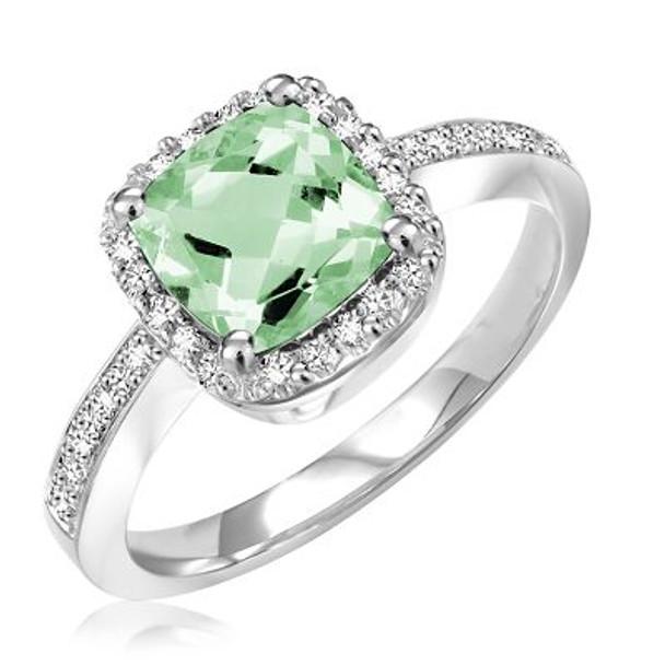 Green Amethyst & Diamond Ring-2506632