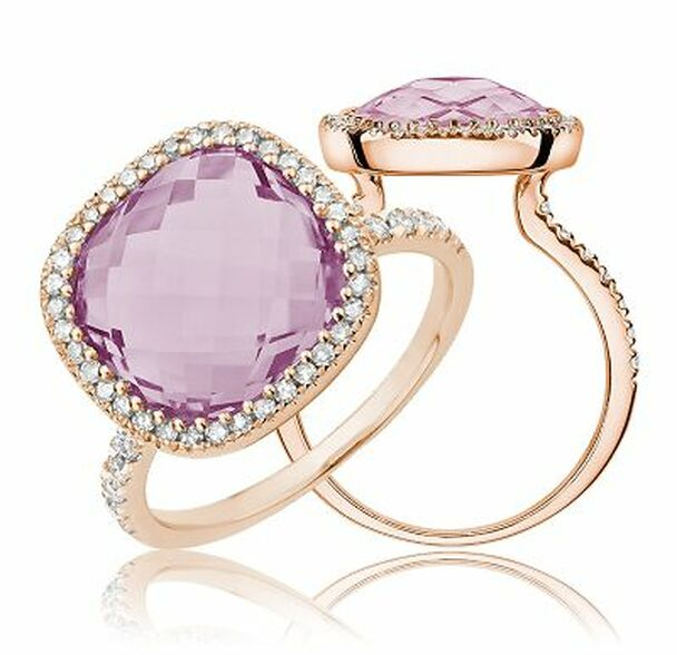 Pink Amethyst & Diamond Ring-2506643