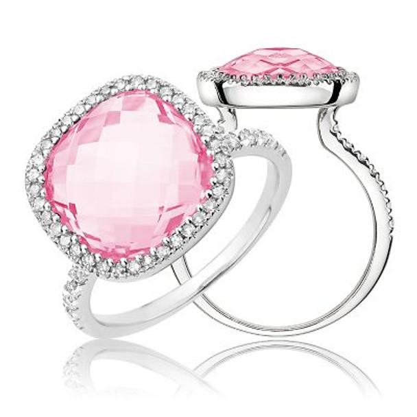 Pink Quartz & Diamond Ring-2506652