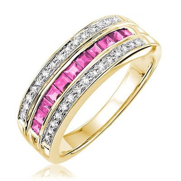 Pink Sapphire & Diamond Ring-2506657