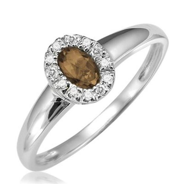 Smoky Quartz & Diamond Ring-2506675