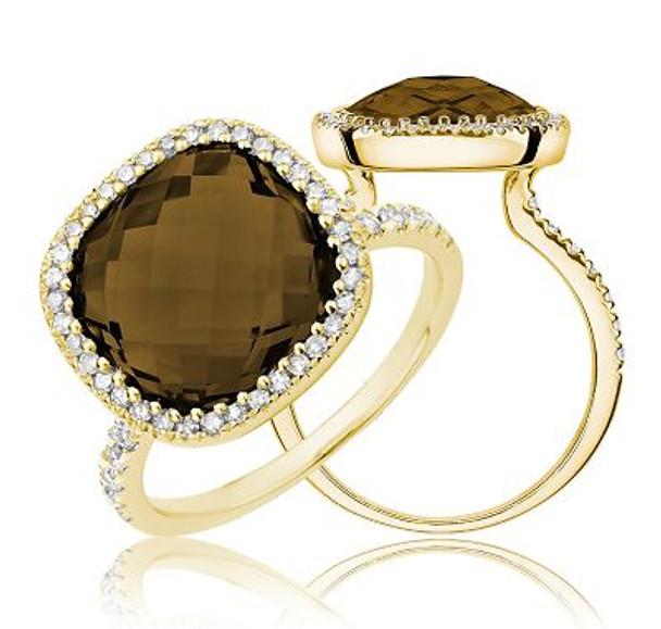 Smoky Quartz & Diamond Ring-2506680