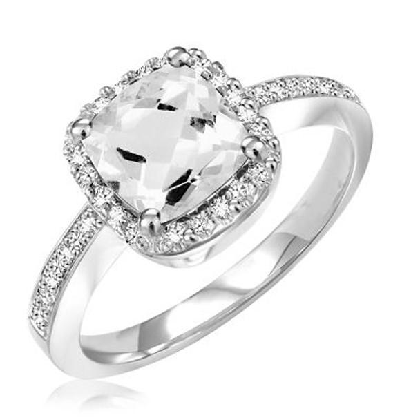 White Topaz & Diamond Ring-2506684