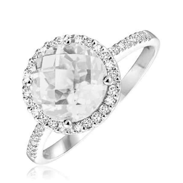 White Topaz & Diamond Ring-2506685