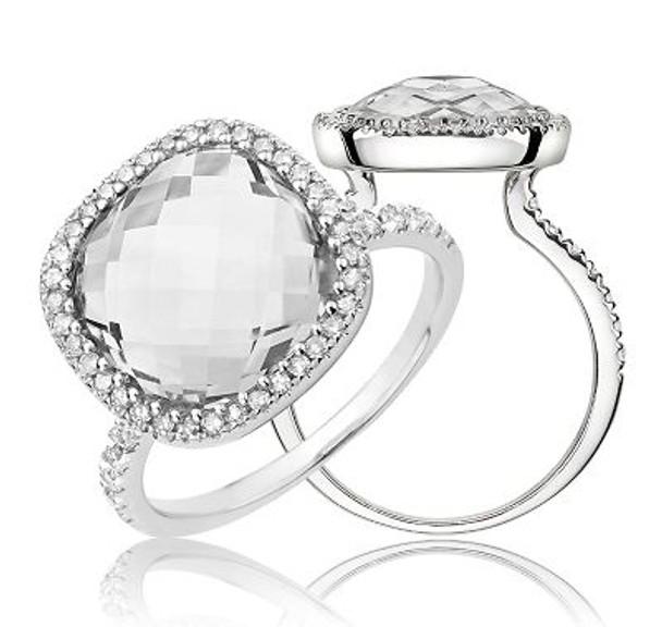 White Topaz & Diamond Ring-2506686