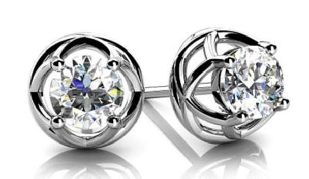 14K Diamond Stud Earrings-3051651