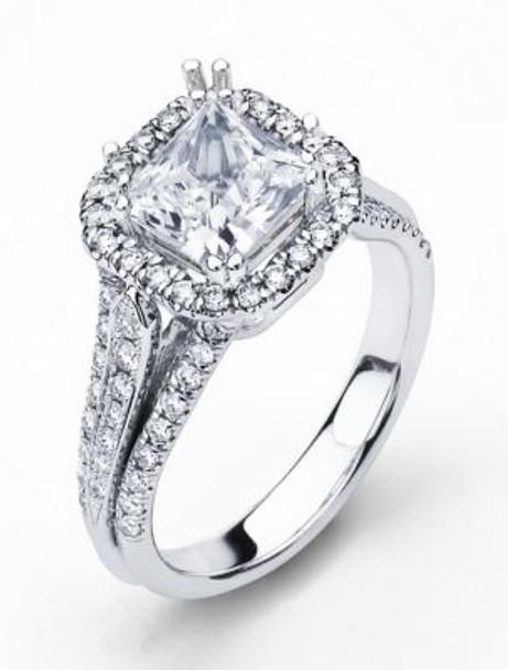 14K Princess Cut  Halo Engagement Ring-3095593