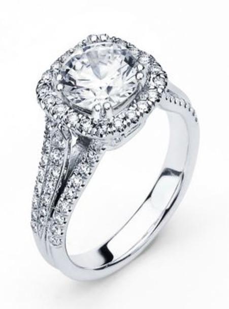 14K Round  Halo Engagement Ring-3095594