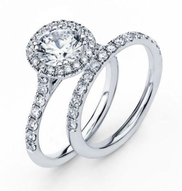 14K Round  Halo Engagement Ring-3095595