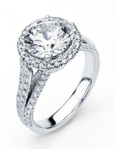 14K Round  Halo Engagement Ring-3095598