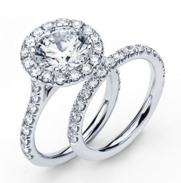14K Round  Halo Engagement Ring-3095599