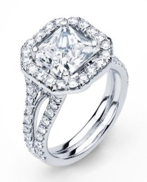 14K Princess Cut  Halo Engagement Ring-3095600