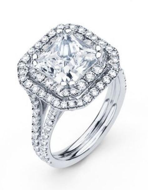 14K Princess Cut  Halo Engagement Ring-3095601